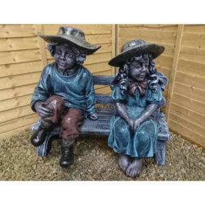 Country Boy and Girl on Bench