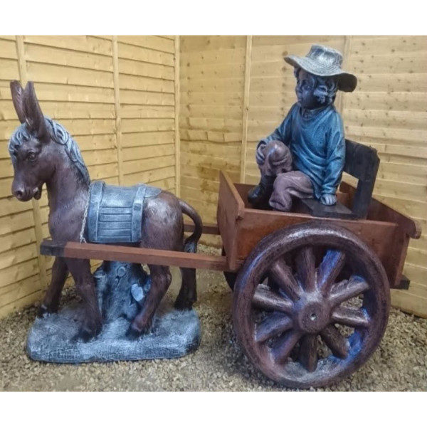 Donkey and Cart with Boy Sitting in the Cart
