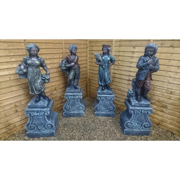 Four Seasons Statues On Pedestals