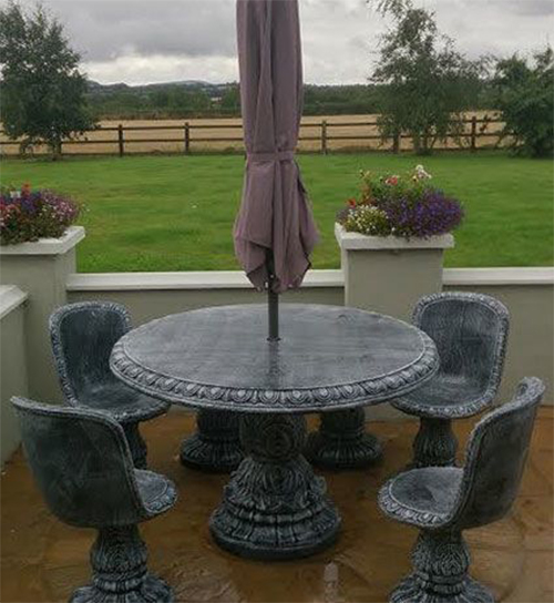 Round 48 table with 4 classic seats wexford stone crafts 48 round table seats how many