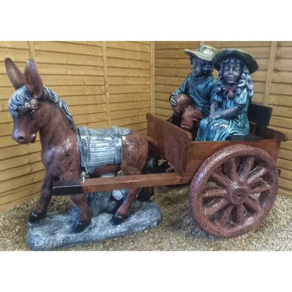 Donkey and Cart with Boy and Girl
