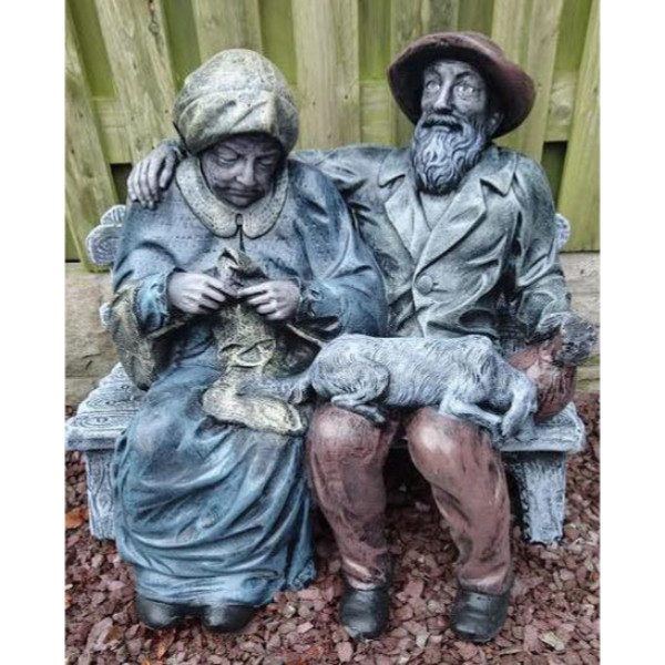 Old Man and Woman Sitting on Bench