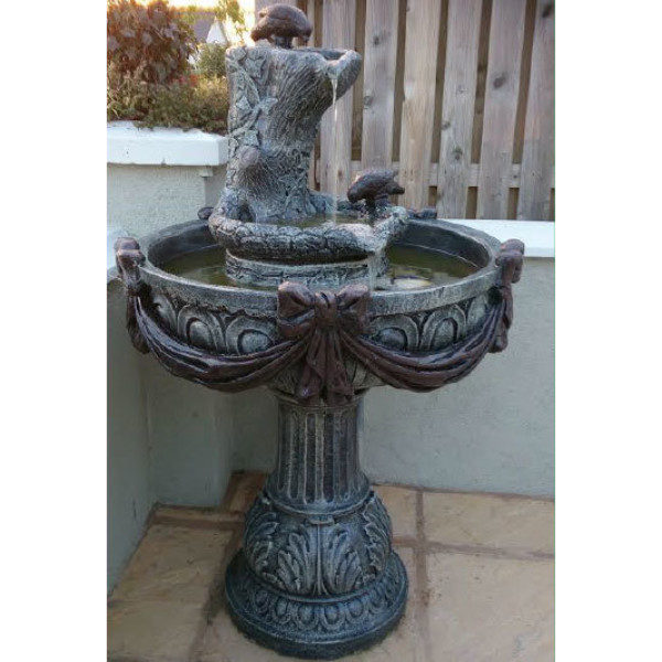 Two Birds Drinking Fountain