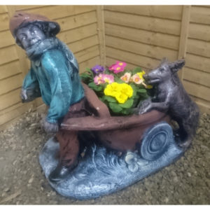 Boy and Dog Planter