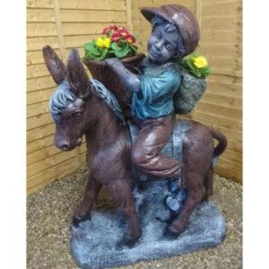 Country Boy Sitting on Donkey