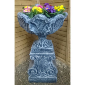 Leaf Flower Pot on Pedestal